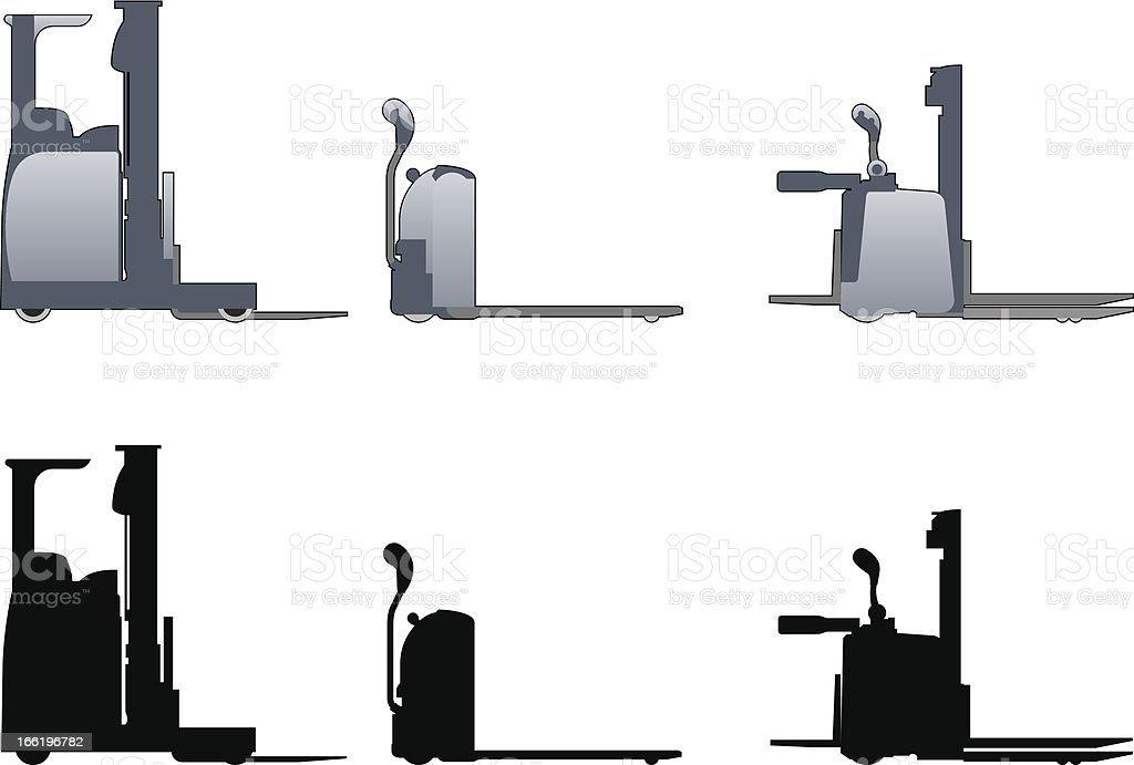 hand operated forklift trucks, front and side elevations royalty-free hand operated forklift trucks front and side elevations stock vector art & more images of agricultural machinery