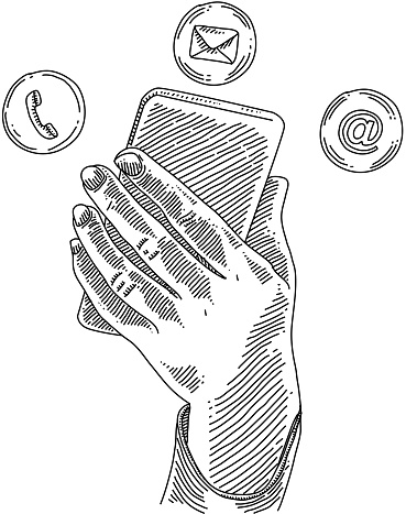 Hand Operating Smartphone Drawing