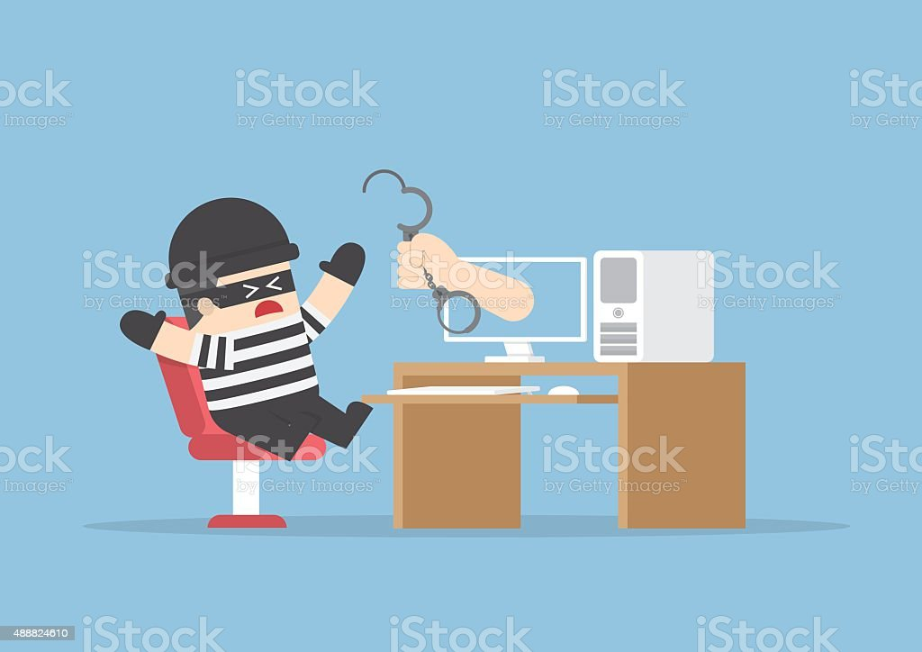 Hand out from monitor to catch hacker vector art illustration