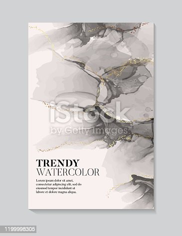 istock Hand painted alcohol ink texture black beige pastel volors with gold flow. Abstract watercolor liquid flow background 1199998305