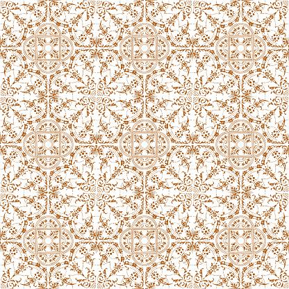Hand Painted Brown Bohemian Tile. Vector Tile Pattern, Lisbon Arabic Floral Mosaic, Mediterranean Seamless Ornament, Geometric Folklore Ornament. Tribal Ethnic Vector Texture.