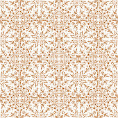 Hand Painted Brown Bohemian Tile. Vector Tile Pattern, Lisbon Arabic Floral Mosaic, Mediterranean Seamless Ornament, Geometric Folklore Ornament. Tribal Ethnic Vector Texture.