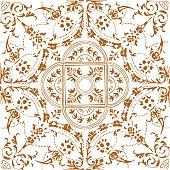istock Hand Painted Brown Bohemian Tile. Vector Tile Pattern, Lisbon Arabic Floral Mosaic, Mediterranean Ornament, Geometric Folklore Ornament. Tribal Ethnic Vector Texture. 1198114937