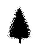 hand drawn Christmas tree with falling snow in the background.  You can edit the colors or sizes easily if you have Adobe Illustrator or other vector software. All shapes are vector