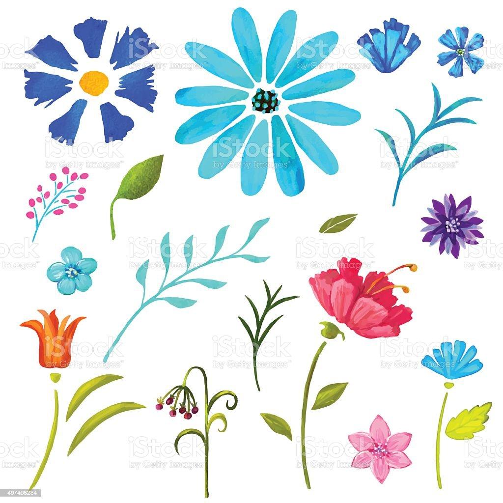 ハンドペイントの花柄ウォーターカラーセット、花と葉 ベクターアートイラスト
