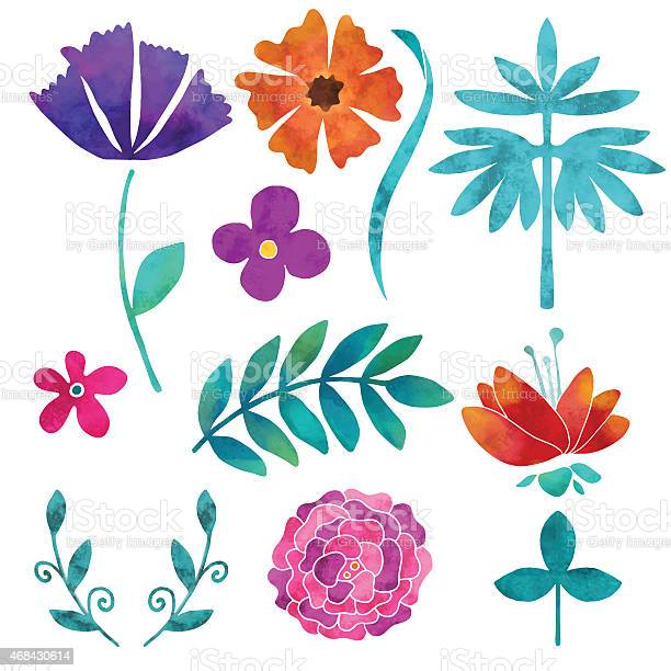 Hand painted floral watercolor set flowers and leaves vector id468430614?b=1&k=6&m=468430614&s=612x612&h=xjufxgkk7ybhealdbwfg ilvh 0ymekdnbvfpqaobdw=