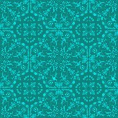 Hand Painted Green Bohemian Tile. Vector Tile Pattern, Lisbon Arabic Floral Mosaic, Mediterranean Seamless Ornament, Geometric Folklore Ornament. Tribal Ethnic Vector Texture.