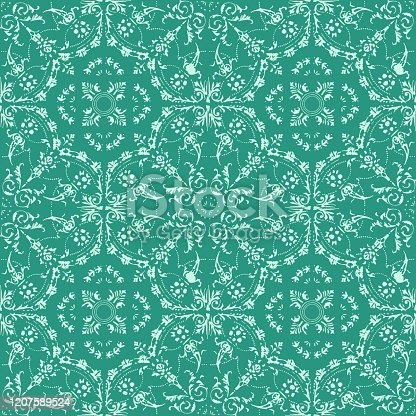 istock Hand Painted Green Bohemian Tile. Vector Tile Pattern, Lisbon Arabic Floral Mosaic, Mediterranean Seamless Ornament, Geometric Folklore Ornament. Tribal Ethnic Vector Texture. 1207589524