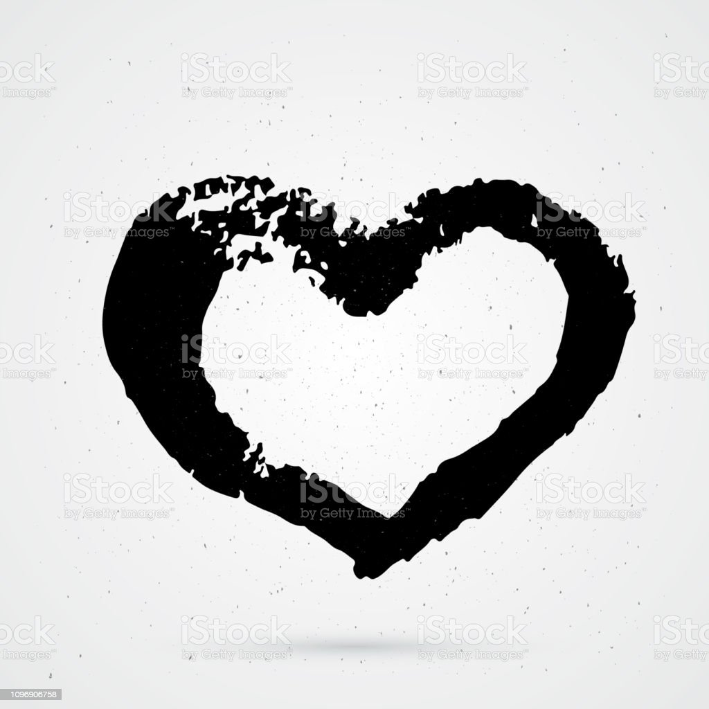 Hand Painted Heart On White Background Grunge Shape Of Heart Black