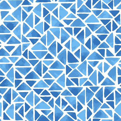 Hand painted mosaic background with triangles in blue. Seamless vector pattern