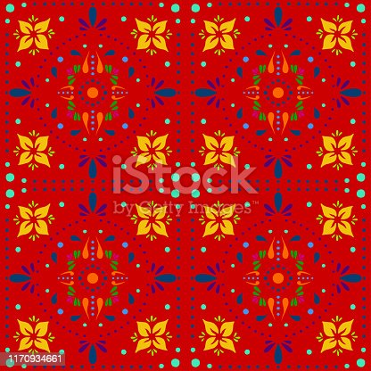 istock Hand Painted Multi Colored Bohemian Tile. Vector Tile Pattern, Lisbon Arabic Floral Mosaic, Mediterranean Seamless Ornament, Geometric Folklore Ornament. Tribal Ethnic Vector Texture. 1170934661