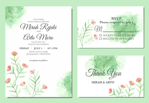 Hand painted of simple floral watercolor wedding invitation