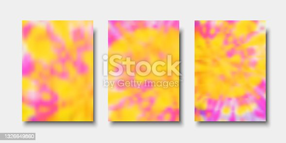istock Hand painted psychedelic tie dye blurred background. Vector illustrations for flyers, posters and placards design 1326649860