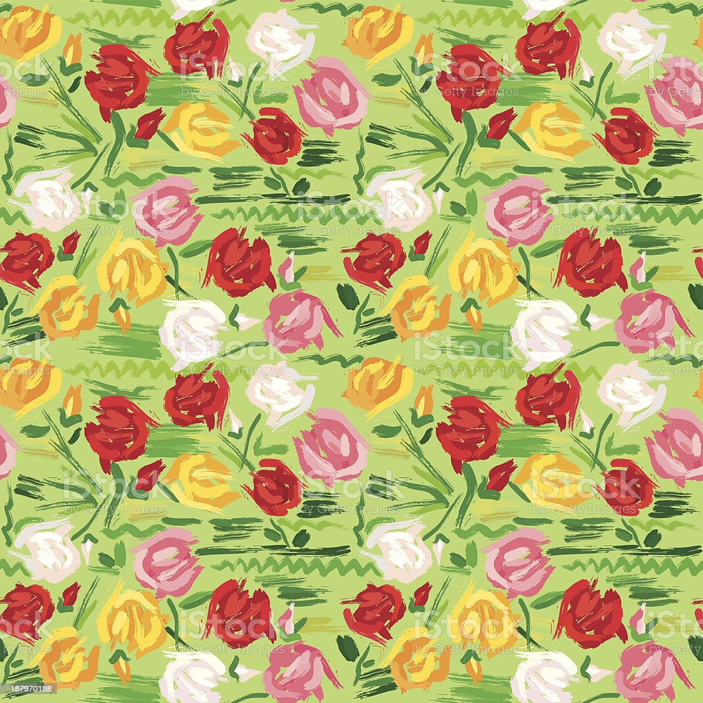 Hand painted roses seamless pattern royalty-free stock vector art
