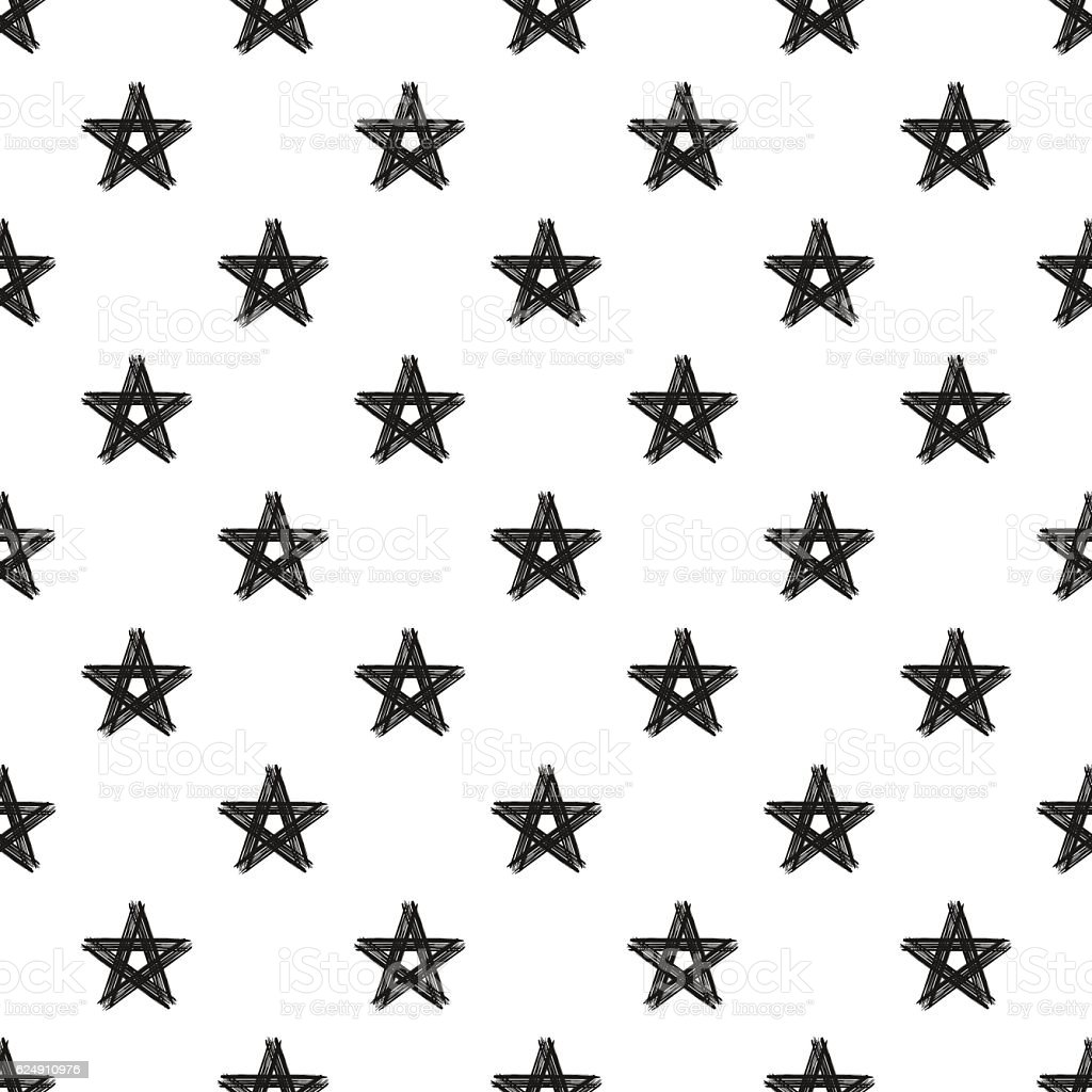 hand painted seamless pattern dry brush star stock vector art