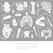 Hand Painted set of vector Healthcare objects
