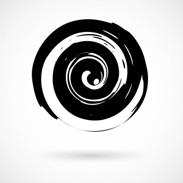 hand painted swirl symbol - спираль stock illustrations