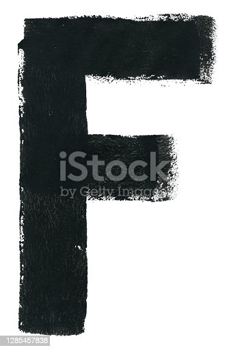 istock Hand painted vector illustration with one big isolated object in the middle of white sheet of paper - lette F with natural imperfections made by spontanous paint roller movement -   amazing texture and details - graphic design template 1285457838