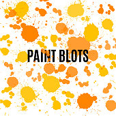 Hand Painted Watercolor Clip Art, Set of Orange Paint Blots Isolated on White Background. Orange Ink Patches Set. Watercolor Circles or Spots Collection. Design Element for Greeting Cards and Labels, Abstract Background.