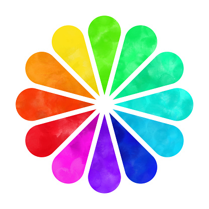 Hand Painted Watercolor Color Wheel, Rainbow Flower Isolated on White Background. Hand Painted Watercolor Color Wheel, Rainbow Flower Isolated on White Background. Design Element.