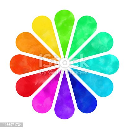 istock Hand Painted Watercolor Color Wheel, Rainbow Flower Isolated on White Background. Hand Painted Watercolor Color Wheel, Rainbow Flower Isolated on White Background. Design Element. 1166971704