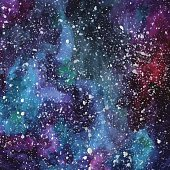 Hand painted watercolor cosmic texture with stars.
