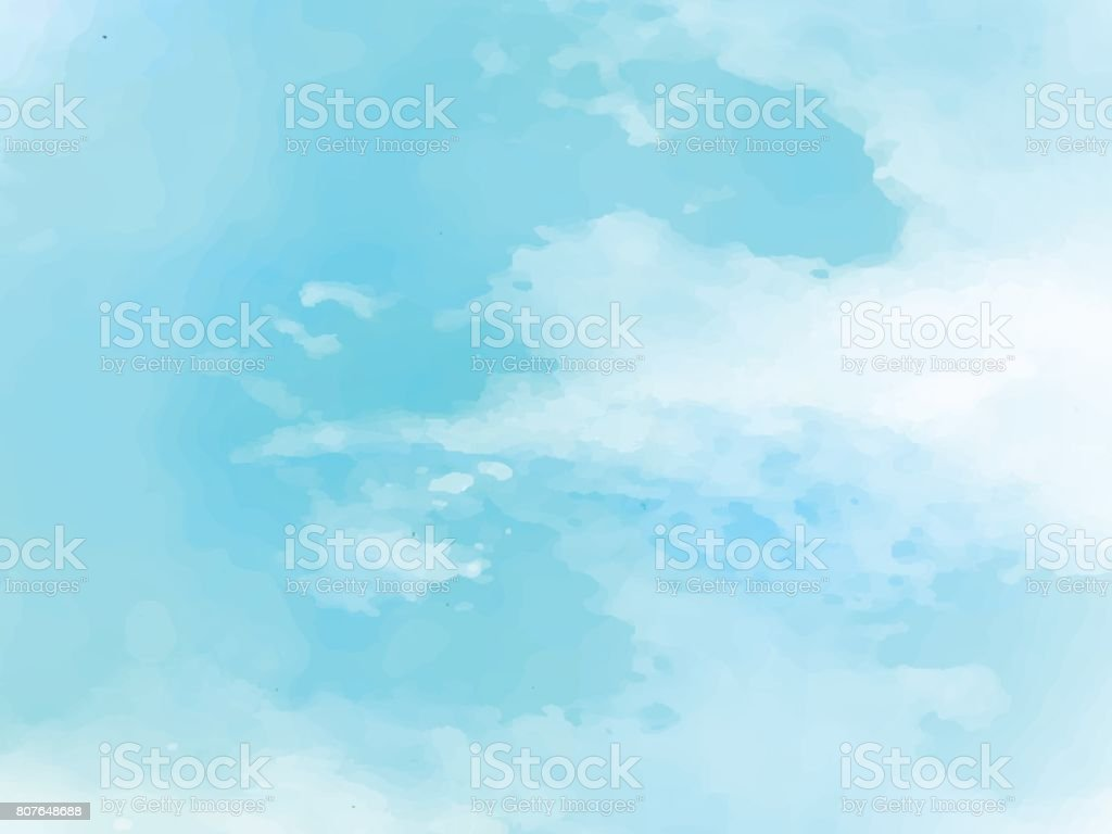 Hand painted watercolor sky and clouds, abstract watercolor background, vector illustration vector art illustration