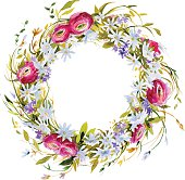 hand painted watercolor wreath. Meadow flowers decoration.