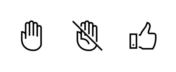 Hand, Palm Don't Touch, Thumb Up icons vector art illustration