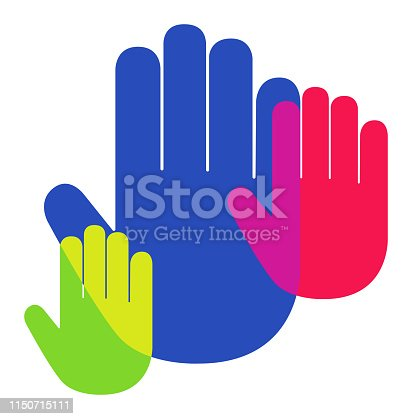 Vector of Hand palm Icon Overlapping Vibrant Colors