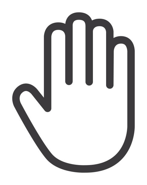 stockillustraties, clipart, cartoons en iconen met hand palm pictogram - stopbord