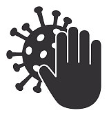 Vector of Hand Palm Stop Icon with Coronavirus