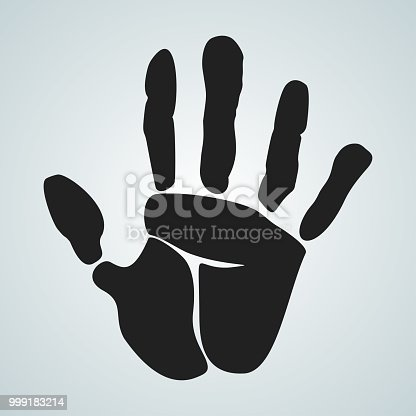 Hand palm vector black icon. Open hand flat vector illustration. Palm Isolated on a white background.