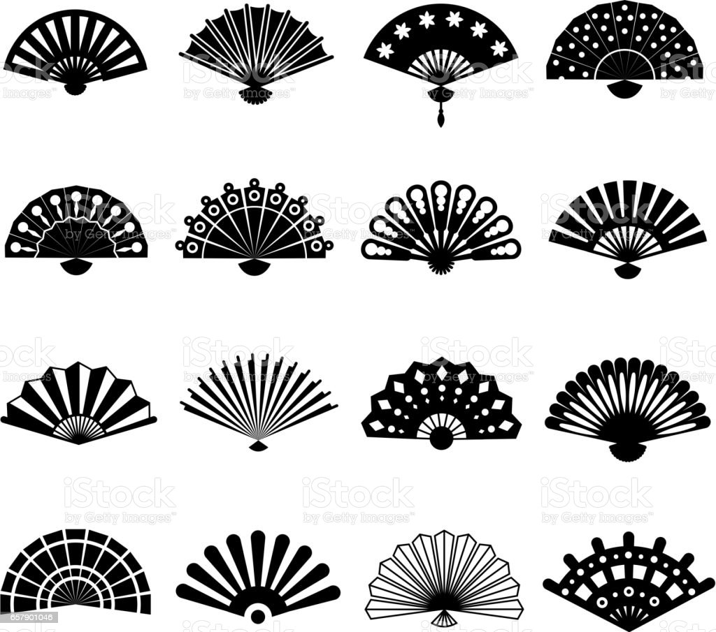 Hand paper fan vector icons. Chinese or japanese beautiful fans isolated on white background vector art illustration