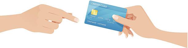 Hand passing a creditcard vector art illustration