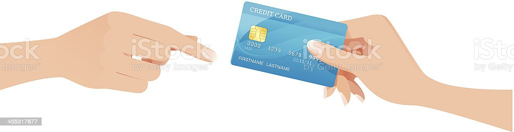 Hand passing a creditcard vector art illustration