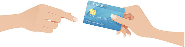 Hand passing a creditcard Vector illustration of hand passing a creditcard to another receiving hand.  More files from this series: passing giving stock illustrations