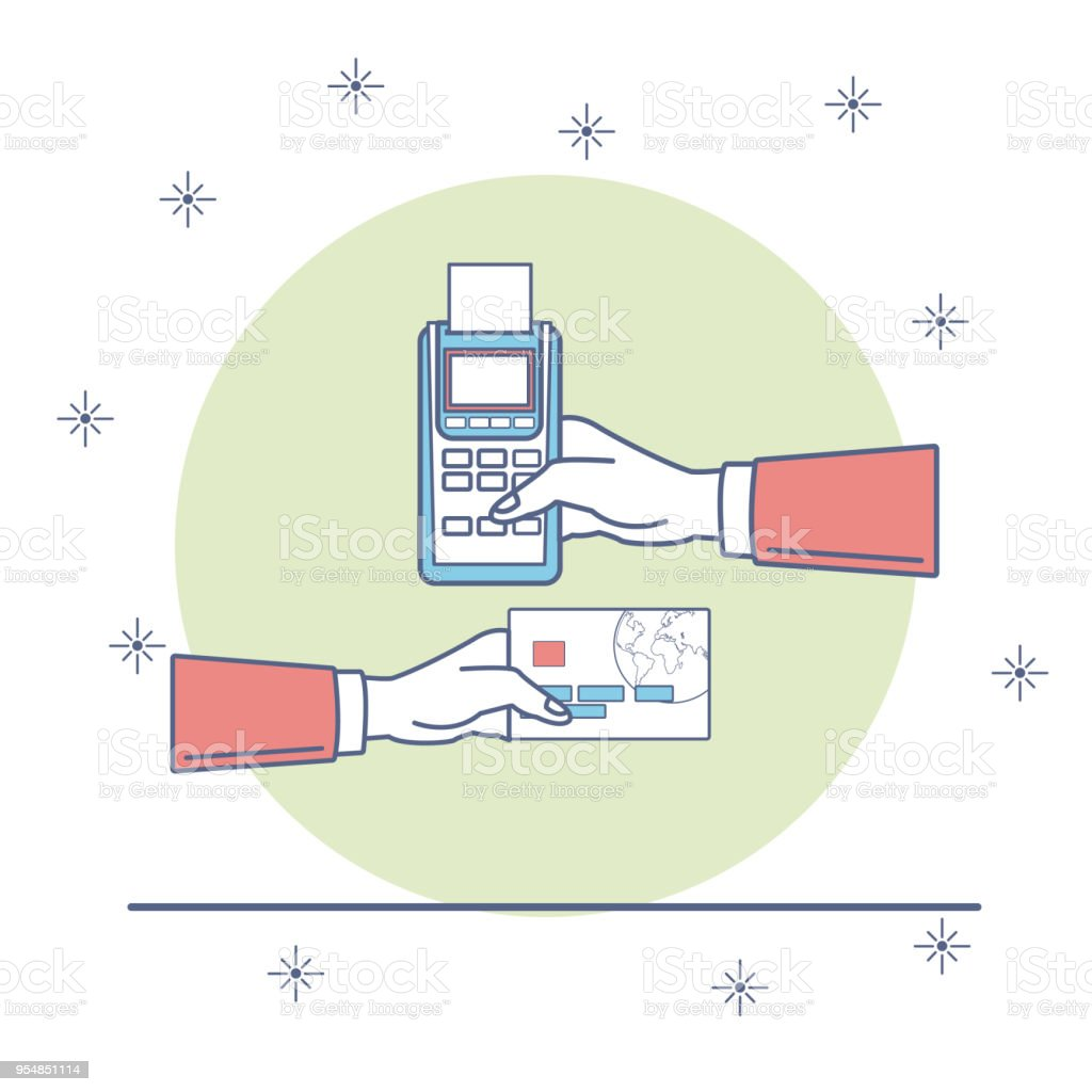 Hand Passing Credit Card For Payment Stock Vector Art More Images Diagram Royalty Free