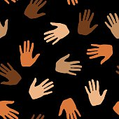 Vector illustration of skin toned colored hands in a repeating pattern.