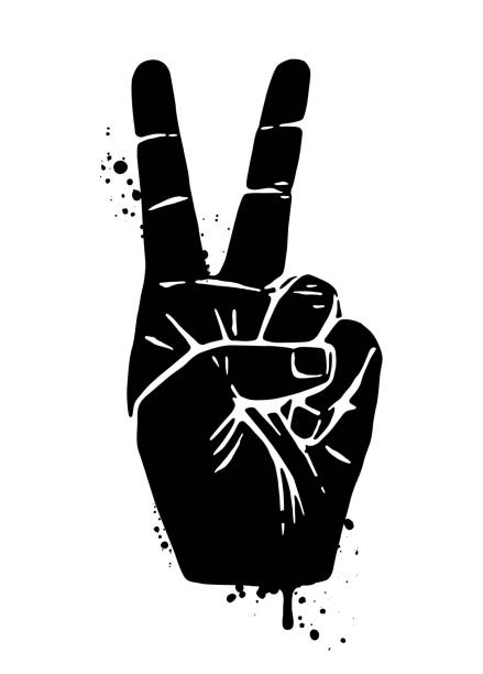 Hand Peace Sign Black Silohuette Vector Hand Peace Sign symbols of peace stock illustrations