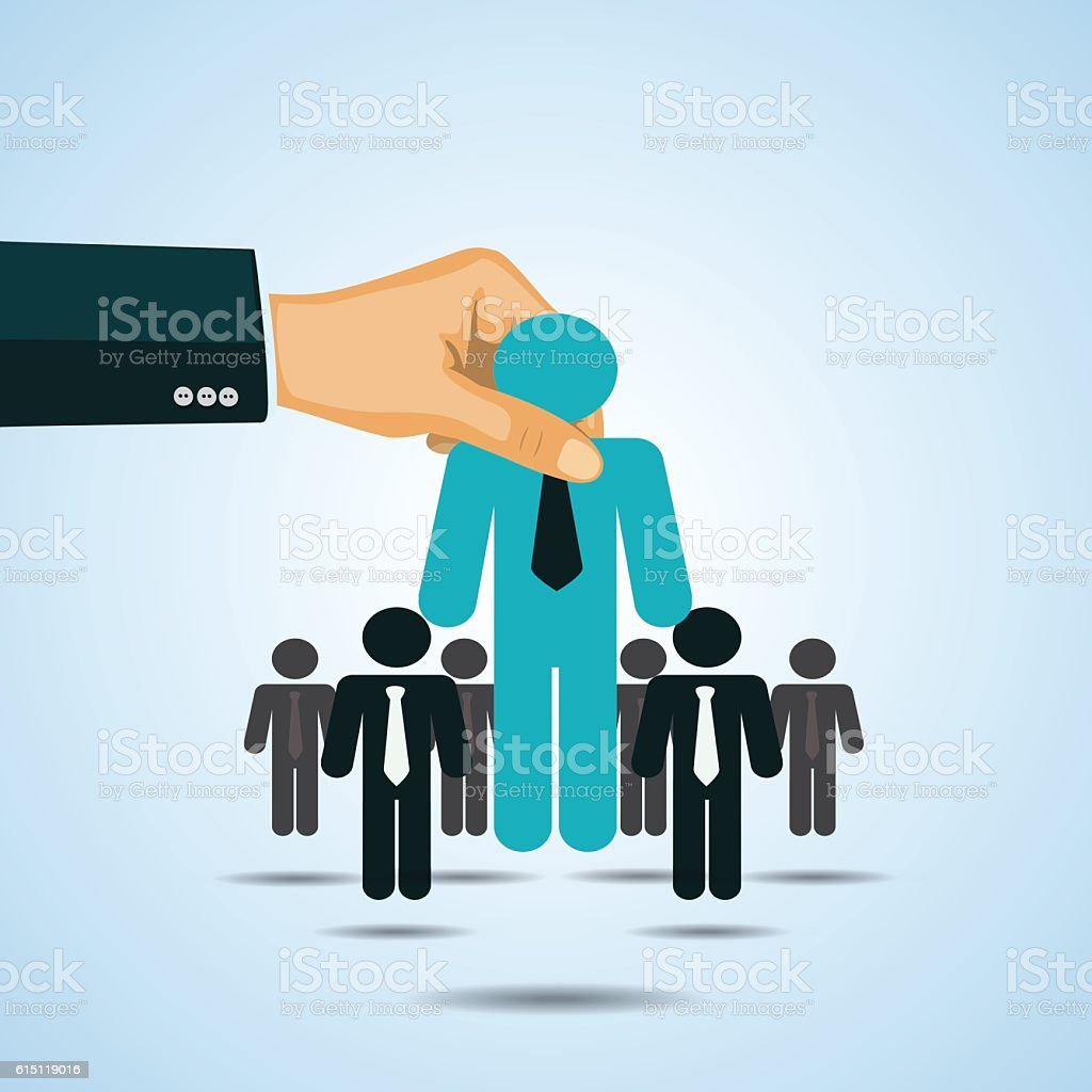 Hand picking business person candidate group - vector illustration vector art illustration