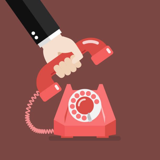Hand picking up the phone vector art illustration