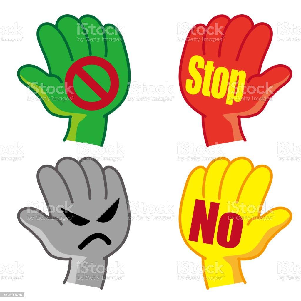 hand pictogram set 'stop' or 'No' vector art illustration
