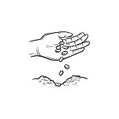 Human hand planting seeds in ground hand drawn vector outline doodle icon. Human hand with seeds sketch illustration for print, web, mobile and infographics isolated on white background.