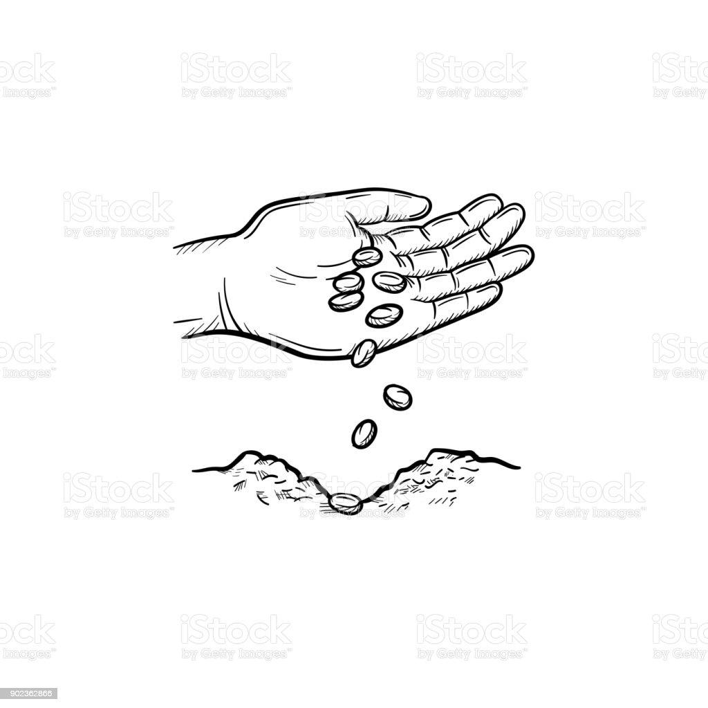 Hand planting seeds hand drawn sketch icon vector art illustration