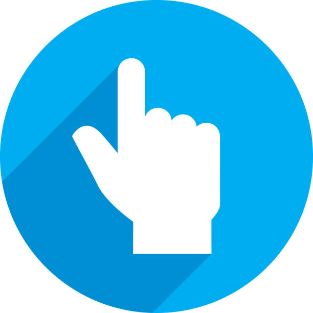 Hand Point Icon Silhouette Vector illustration of a blue hand pointing cursor icon in flat style. human finger stock illustrations
