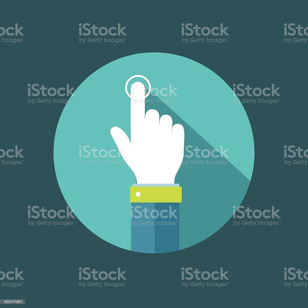Hand pointer clicking on button flat illustration vector art illustration