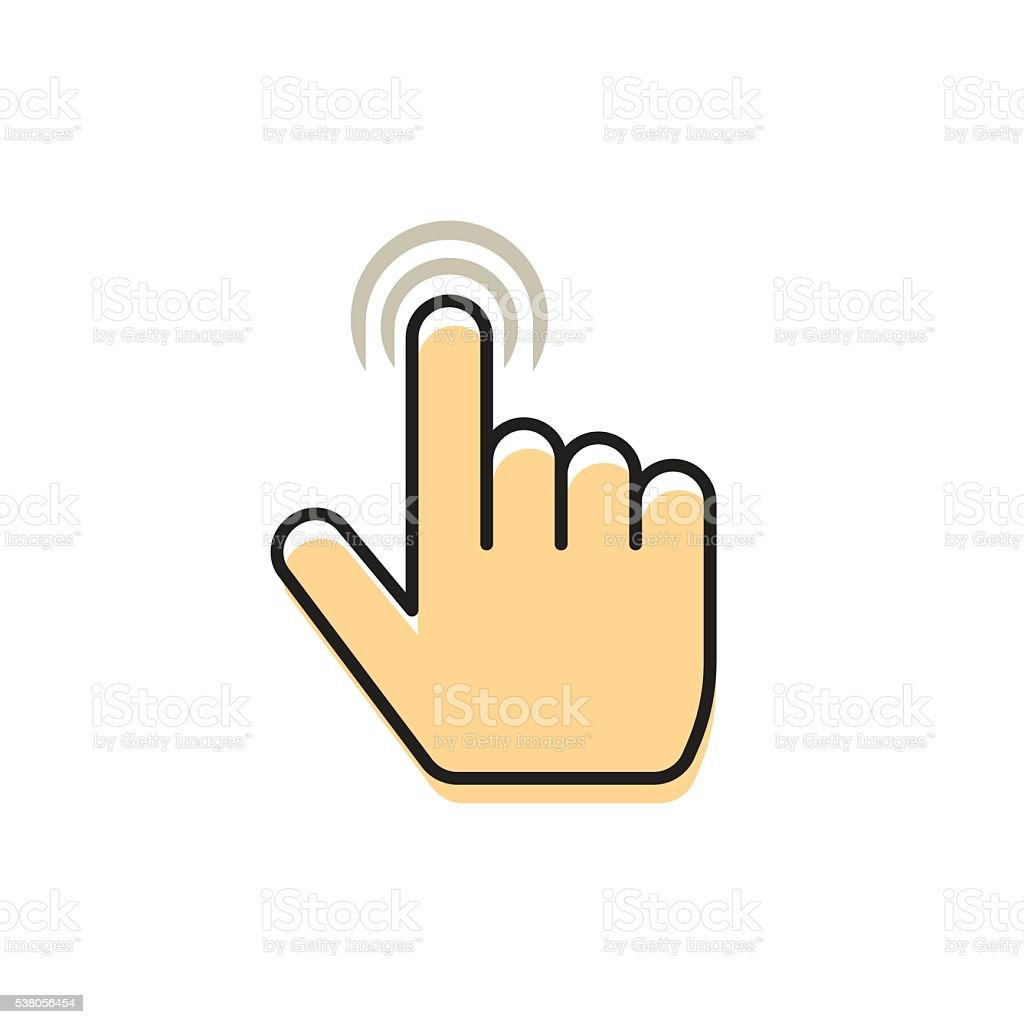 Hand pointer finger, concept of multi touch technology, gesture icon vector art illustration