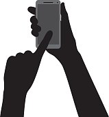 Hand Pointing at Smartphone Silhouette