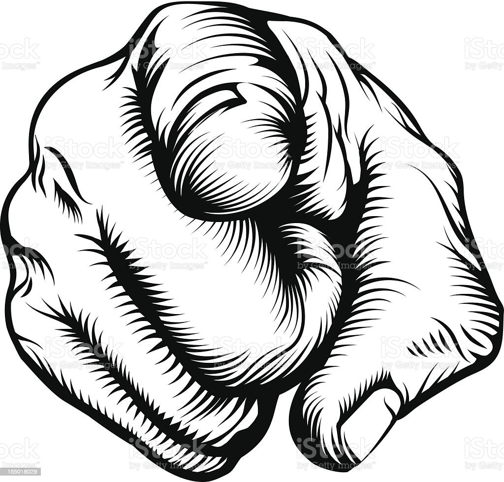 Hand pointing at viewer vector art illustration